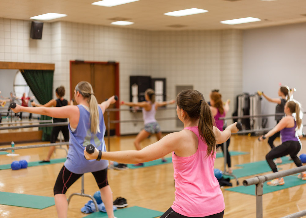Women's Insanity Group Fitness class at the UREC Fitness Center in the Arkansas Union