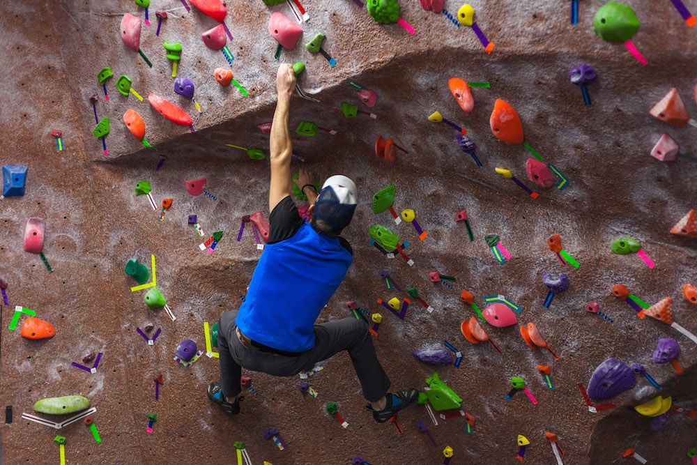 The UREC Bouldering wall is open to students and members, who get free shoes and chalk