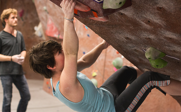 Check out a free pair of shoes and traverse the 35' wide bouldering wall in HPER 102.