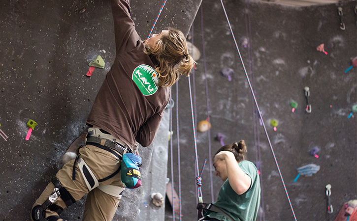 Climb a few routes, get belay certified, and even participate in instructional clinics at the Climbing Wall on the second floor of the HPER.